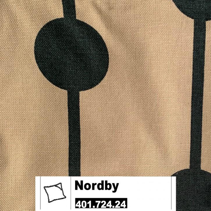 IKEA NORDBY Kissenbezug 50x50cm in khaki / schwarz 401.724.24