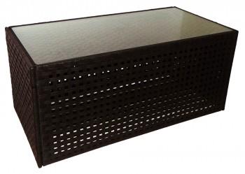 IKEA Ransby Gartentisch 100x50cm / dunkelbraun mit Glasplatte 802.025.08