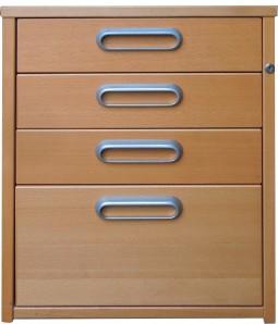 IKEA Effektiv Rollcontainer mit 4 Schubladen Buche Schloß