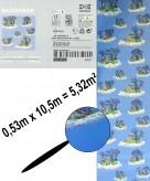 IKEA GLÖDANDE Tapete blau 0,53x10,5m Kindertapete mit Motiven